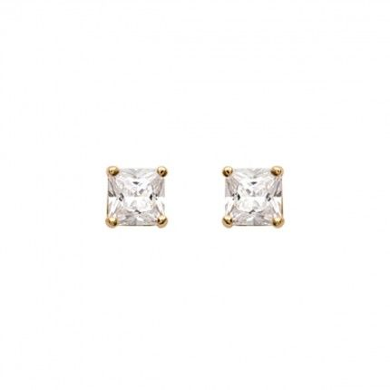 Gold Plated Earings with square zirconia 6mm.