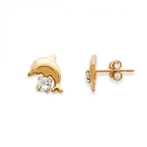 Boucles d'oreilles plaqués or dauphin de 10mm avec Zirconium
