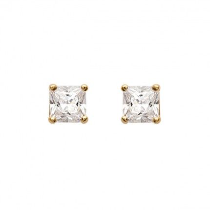 Gold Plated Earings with square zirconia 12mm.