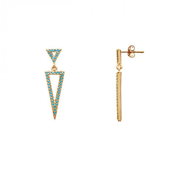 Gold Plated Earings Triangle shape  with blue stone 7mm / 30mm.