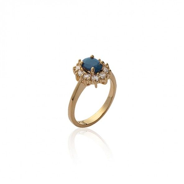 Gold Plated Queen Ring with blue and white zirconia 12mm.