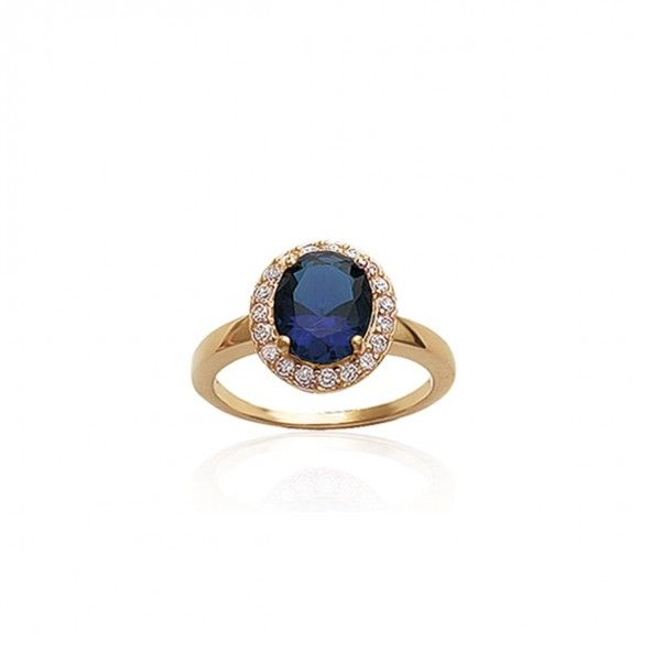 Gold Plated Solitary Ring Blue and White Zirconia 13mm.