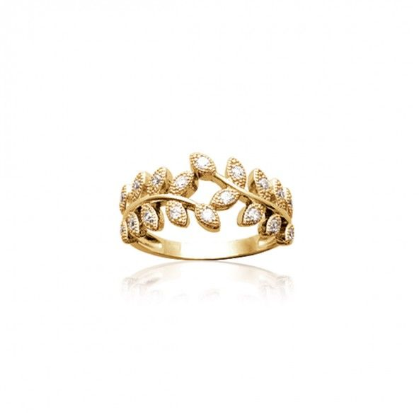 Gold Plated Ring leaf shape with zirconia 10mm.