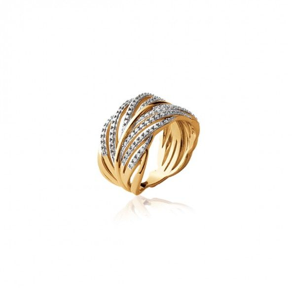 Gold Plated Ring leaf shape with zirconia 13mm.