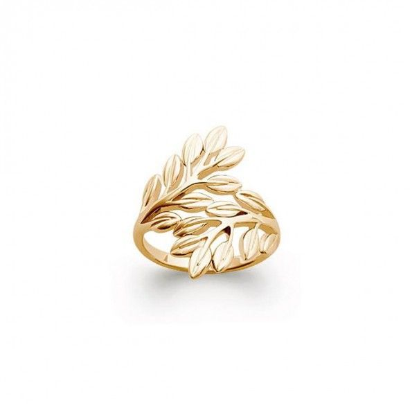 Gold Plated ring with leaf 22mm.
