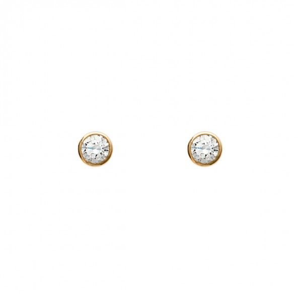 Gold Plated Earings solitaire with round  zirconia 6mm.