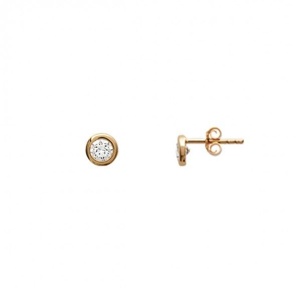 Brincos Plaqueado a Ouro solitário redondo com zircónia 6mm.