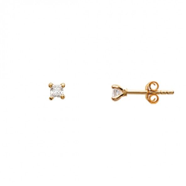 Gold Plated Earings solitaire with square zirconia 3mm.