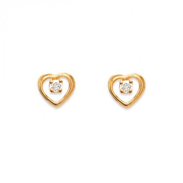 Brincos Plaqueado a Ouro em forma de Coração com zircónia 8mm.