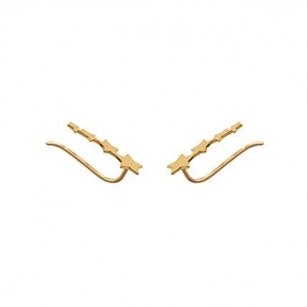 Boucles d'Oreilles Contour Etoile Plaqué Or 7mm / 18 mm