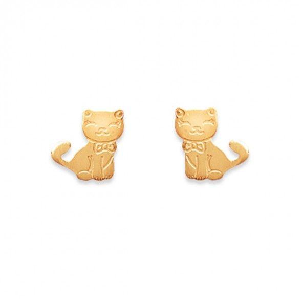 Boucles d'Oreilles en Forme de Chat Plaqué Or 9 mm