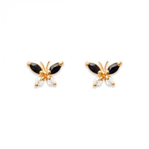 Brincos Plaqueado a Ouro em forma de borboleta com zircónias azuis e brancas 10mm.