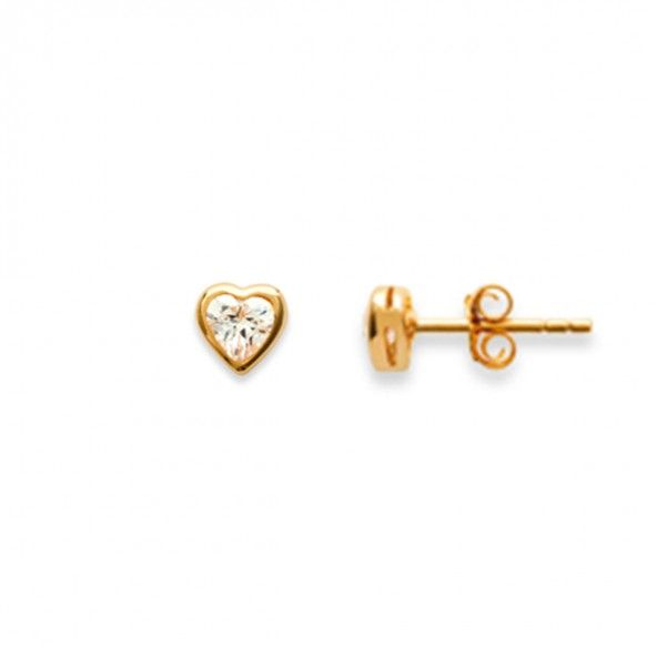 Gold Plated Earrings heart shape with zirconia 6mm.