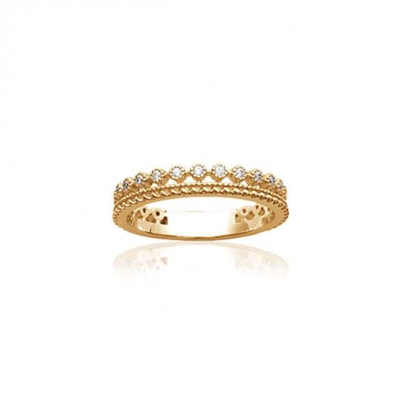 Anel Plaqueado a Ouro em forma de coroa com zircónia 4mm.