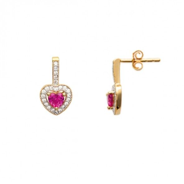 Gold plated Earrings pendant heart shape with pink zirconia in the middle and white 8mm.