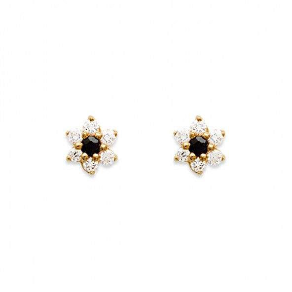 Gold plated Earrings flower shape with blue zirconia in the middle and white 13mm.