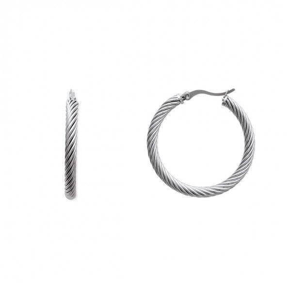 Créoles Spiral Acier 35mm/4mm