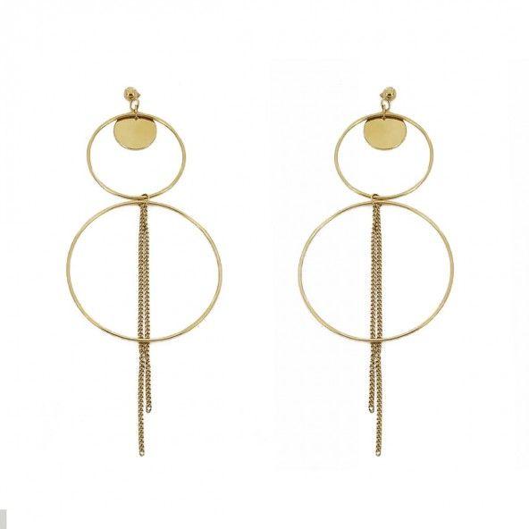 Brincos pendentes de Aço Dourado duas argolas 53mm/30mm