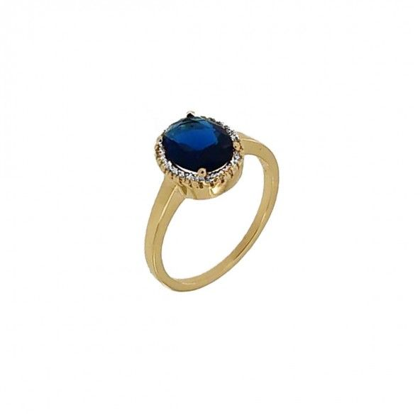 Gold Plated Ring round solitaire with blue and white zirconias, 11mm.
