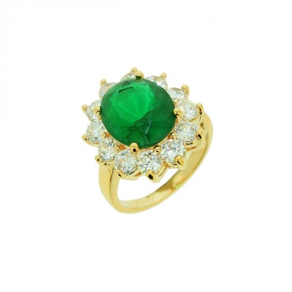 Gold Plated Ring flower shape with green and white zirconias, 17mm.