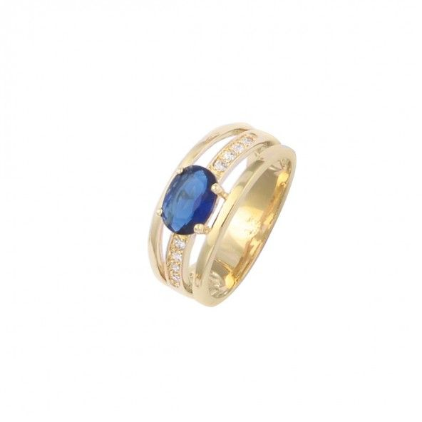 Gold Plated Ring solitaire with blue and white zirconias, 9mm.