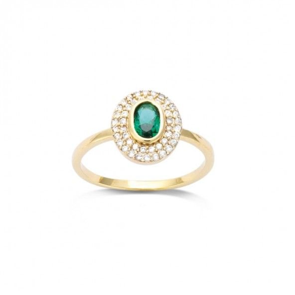 Gold Plated Ring solitaire with green and white zirconias, 12mm.