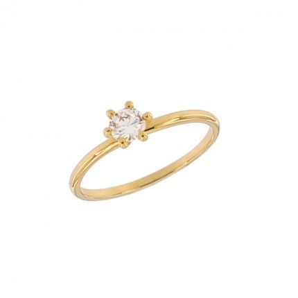 Gold Plated Solitaire ring with round zirconia 5mm.