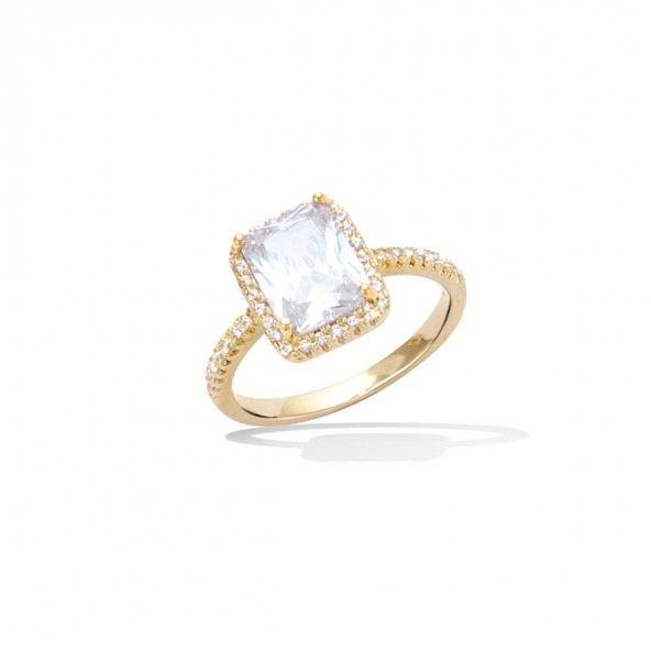 Anel Plaqueado a Ouro solitário com zircónia branca quadrada 11mm.