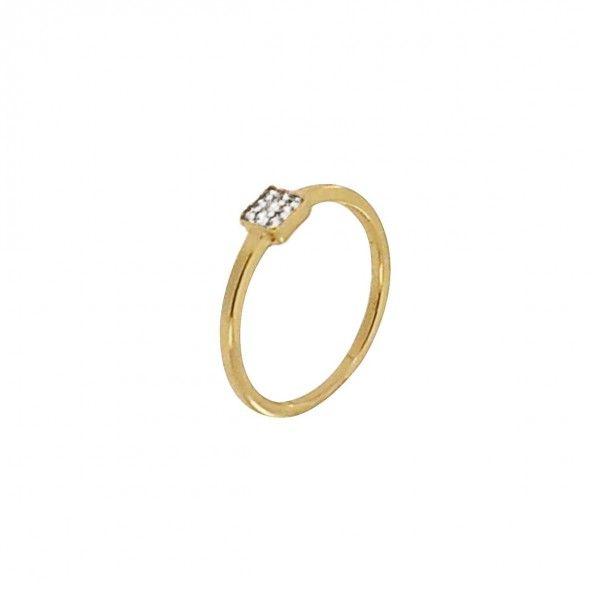 Anel Plaqueado a Ouro solitário com zircónia branca quadrada 4mm.