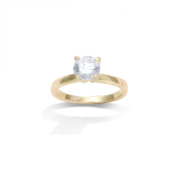 Gold Plated Solitaire ring with round zirconia 7mm.