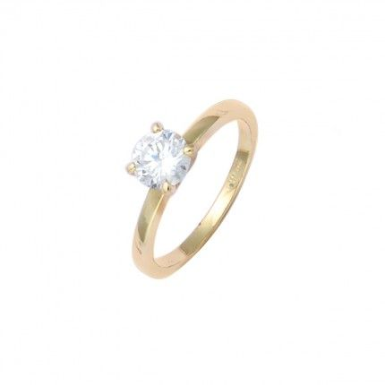 Gold Plated Solitaire ring with round zirconia 6mm.