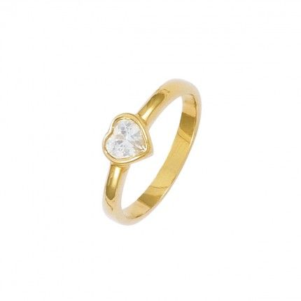 Gold Plated Solitaire ring heart shape with zirconia 7mm.