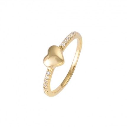 Gold Plated Solitaire ring heart shape with zirconia 6mm.