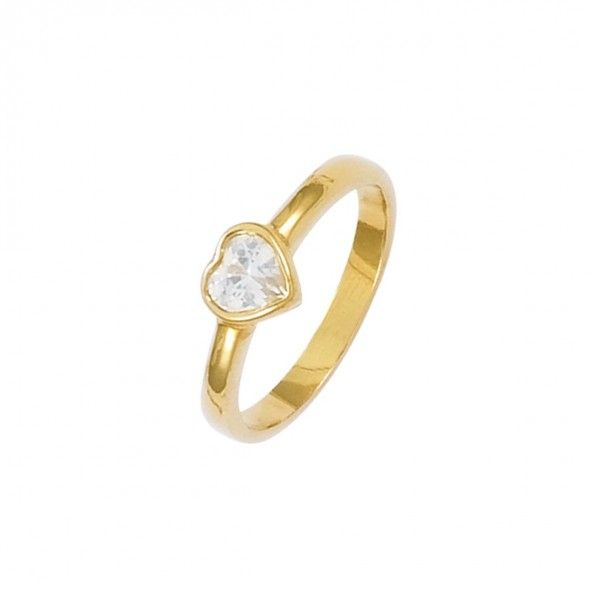 Bague en plaqué or avec un coeur solitaire en forme de zircone blanche de 7 mm.