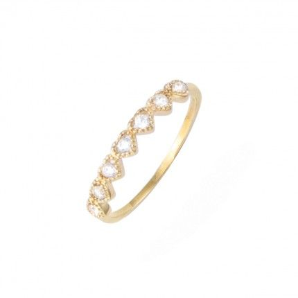 Gold Plated ring with heart zirconia 4mm.