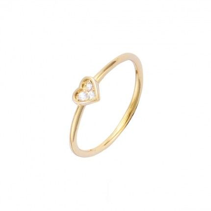 Gold Plated Solitaire ring heart shape with zirconia 5mm.
