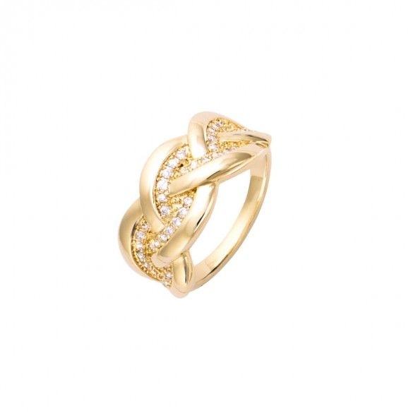 Gold Plated Ring with zirconia 10mm.