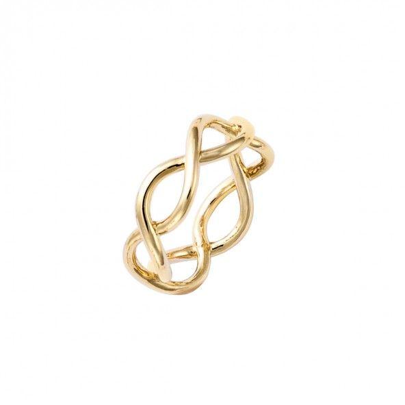 Anel Plaqueado a Ouro forma de infinito 7mm.