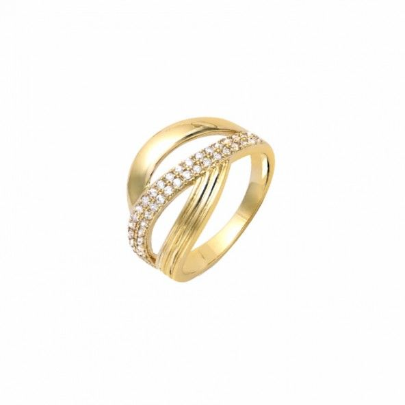 Gold Plated Ring with zirconia 13mm.