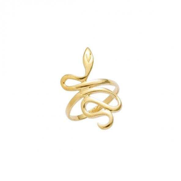 Gold Plated Ring snake shape 28mm.