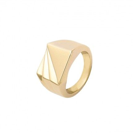 Gold Plated Man Ring square 13mm.