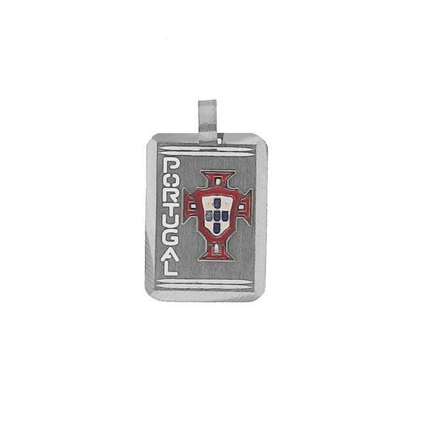 Pendentif rectangulaire Argent 925/1000 Simbol de la Federation Portugaise 25mm/18mm