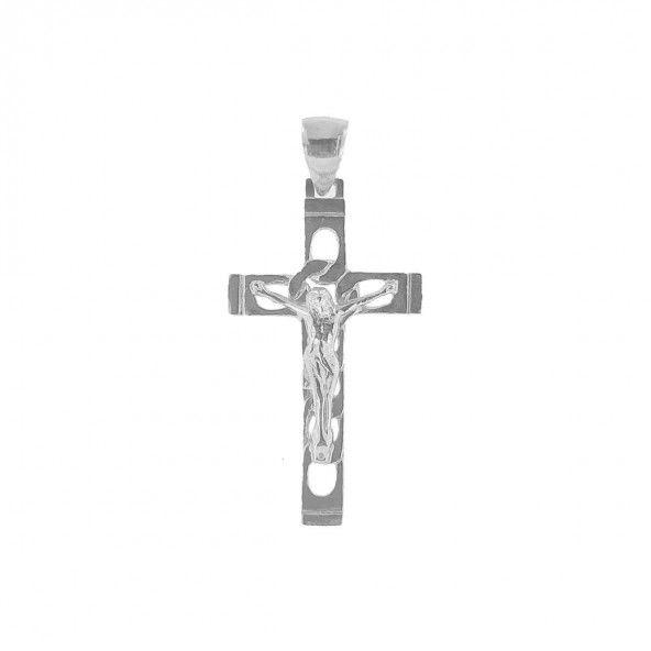 Pendente Prata 925/1000 cruz com Cristo 42mm/24mm.