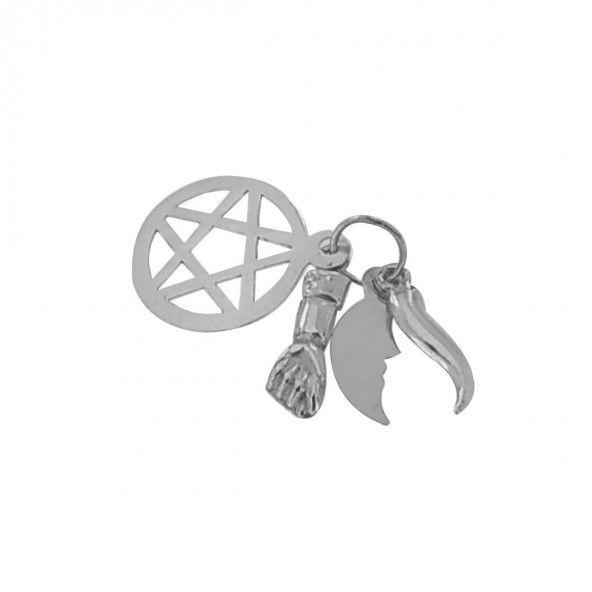 Pendente Prata 925/1000 amuleto 5 saimões 14mm.