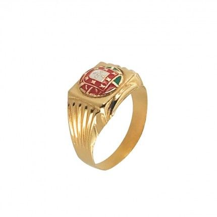 375/1000 Gold Ring with Portugal Flag 12mm.