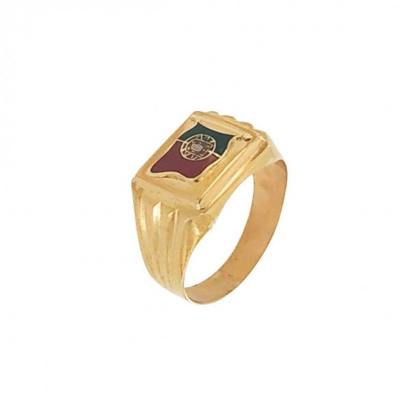 375/1000 Gold Ring with Portugal Flag 13mm.