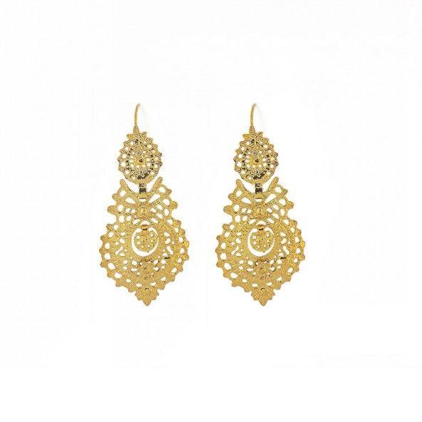 """925/1000 Gold Silver Earring """"coração de Viana"""" 52mm."""