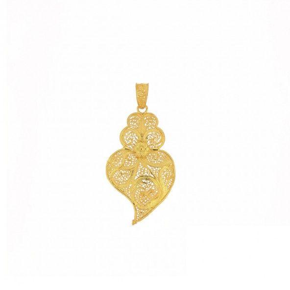 """925/1000 Gold Silver pendant """"coração de Viana"""" 52mm."""