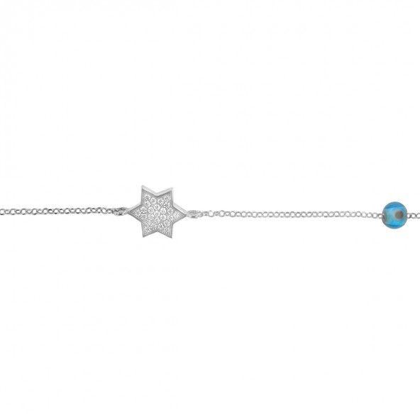 Bracelet Étoile Argent 925/1000 17,50cm/2,50cm.