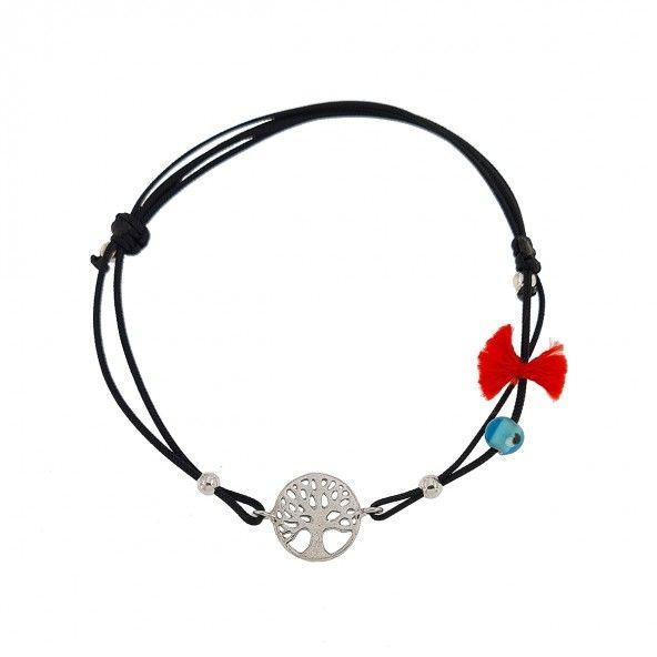 Bracelet en Fil de Soie et Arbre de la Vie Argent 925/1000 11mm.